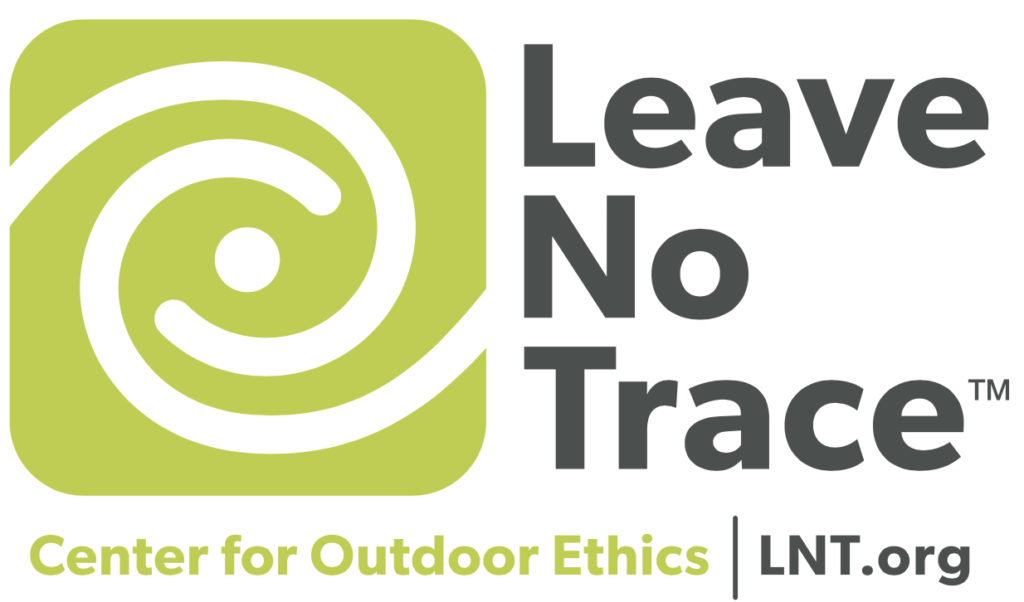 "Leave No Trace Logo with ""Center for Outdoor Ethics"" Tagling and lnt.org website URL."